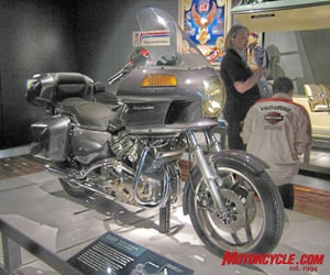 This prototype of the aborted Nova project looks more like a Honda Gold Wing than a Harley. It featured a (gasp) 4-cylinder, liquid-cooled motor with the radiators hidden beneath the seat and under side covers. A lack of funding during the AMF ownership days doomed the project before entering production.
