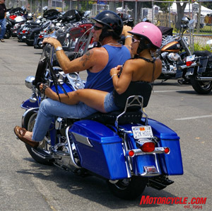 Mandatory Queen Mary L.A. Calendar Bike Show riding gear. Notice time-sensitive vanity plate (�Y2K HOGG�).