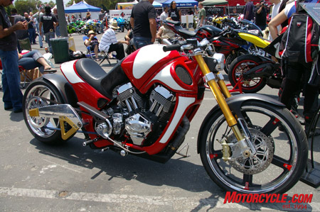 Up there with the best of the show was this Big Bear Choppers custom powered by a 114 cu.-in. S&S X-Wedge motor. Maybe we�d add a bigger headlamp in red and white to carry along the lines of the bike, but we wouldn�t throw it out of our garage.