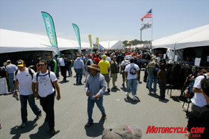 Saturday�s sunny skies brought throngs of spectators into the infield vendor area.