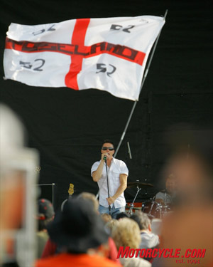 MotoGP racer James Toseland entertained the crowd with his band Crash.