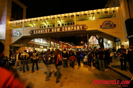 Historic Cannery Row once again brought packs of bike fans to downtown Monterey.