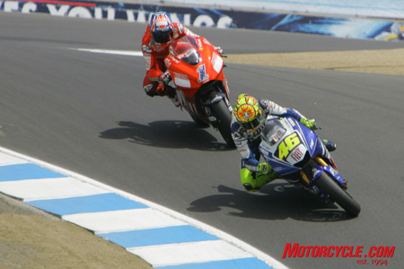 The MotoGP race featured a heroic battle between Casey Stoner and Valentino Rossi.