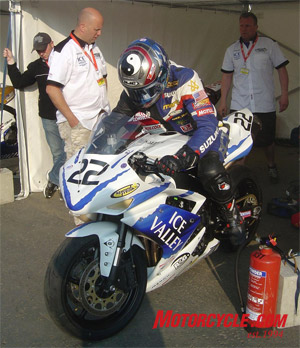 American Mark Miller made another trip to the Isle of Man in 2008, but persistent mechanical troubles kept him from finishing any of his races. Photo by David Hinch.