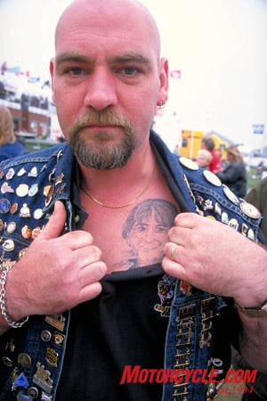 There are fans, and then there are TT fans. This one has a picture of TT legend Joey Dunlop tattoed over his heart.