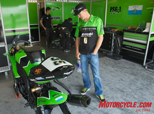 Monster Kawasaki AMA Superbike Racer Jamie Hacking drools over the World Superbike ZX-10R.