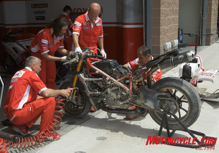 Troy Bayliss' bike gets blown clean after a trip thru the gravel.