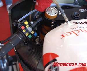 Pushbutton traction control and fuel mapping on WSBK Yamaha R1s.