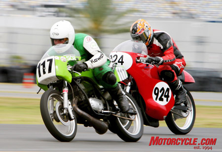 Friend-of-Motorcycle.com, David Crussell (No. 117), moves ahead on his 1971 Kawasaki past the 1975 Honda CB ridden by Brian Wells (No. 924) in the Formula 250 class.