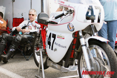 Ed Sensenig rests after racing his vintage Ducati, the same model that he first raced at Daytona 50 years ago.