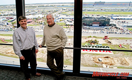 The future of American motorcycling rights are in the hands of AMA CEO and president Rob Dingman (left), while Roger Edmondson (right) and DMG will control the destiny of motorcycle racing.