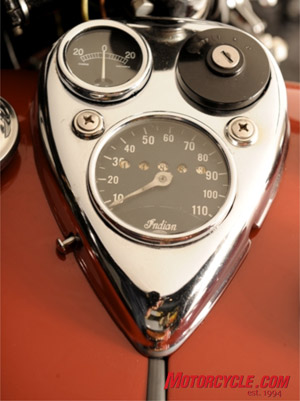 Though nearly 70 years old, the dash on the Indian Dispatch-Tow still looks stylish, like an antique pocket watch.