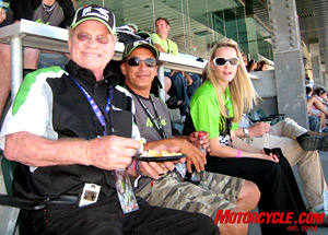 Legendary dirtracker and roadracer Gary Nixon (left) smiles brightly for the camera while enjoying a snack � he�s a storyteller of the highest order. To his left is multi-time 250GP champ Jimmy Filice, another great storyteller and a riot to hang with.