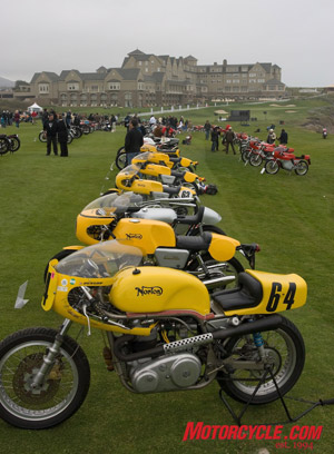 Norton and MV Agusta were the featured marques. The rows of Nortons in yellow and MV Agustas in red point back to the Ritz Carleton Hotel, a nice place to stay if you're in the area.