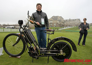Mike Kron of Krautheim, Germany, and the 1894 Hildebrand & Wolfmueller replica that he built. This replica fetched $50,000 at Bonhams and Butterfields that evening.