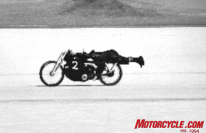 Though this isn't the famous photo of Rollie Free, it still looks as crazy. The daredevil on the Vincent is Marty.