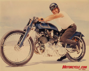 Going 150 mph is still a big deal today for the average street rider. Marty Dickerson was doing it 55 years ago aboard the blue (a color he crafted himself to paint the bike) Vincent seen here. He maintained the 150-mph record for 20 years.