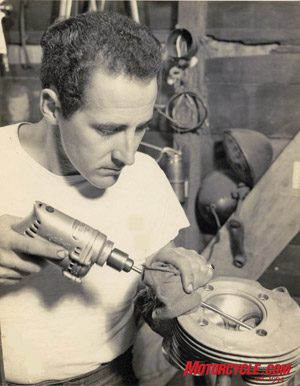 Marty polishing cylinder heads in 1949.