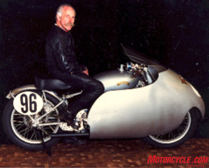 Marty, aboard a Vincent Gray Flash, still looked the part in this 1987 photo, 35 years after racing it or one like it.