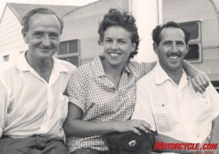 Burt Munro (left), Marty's wife at the time and Marty.