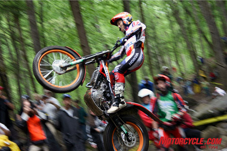 2003 World Champion, Takahisa Fujinami; airborne on the Montesa.