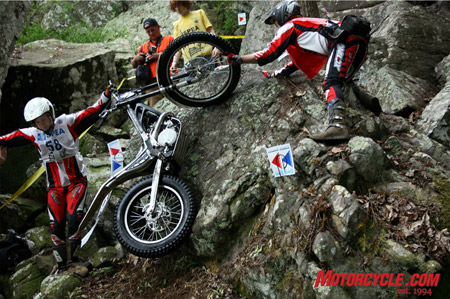 Junior rider, David Millan, misses an obstacle on his way up to Lampkin Falls.