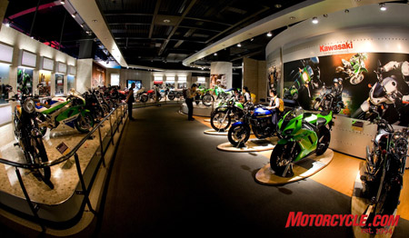 Kawasaki Good Times World showcases Team Green's vast diversity of shipbuilding, rail and aerospace, but the main focus is on the consumer powersports products we're all familiar with.
