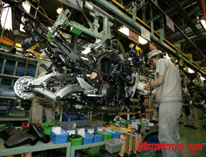At Akashi Works, bikes (like this Concours 14) travel along a conveyor system as components get added to the motorcycle.
