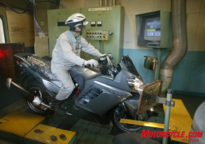 Bikes are tested on a rolling-road dyno after assembly to make sure everything operates correctly.