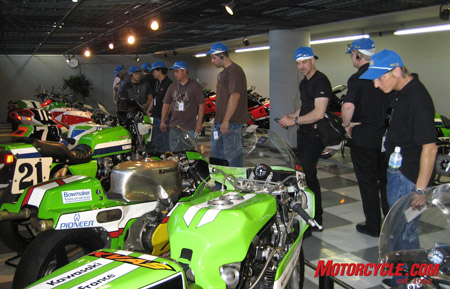 We were privileged to get a look inside the Motorcycle Collection Hall in Akashi Works. Seen in this shot are a few Grand Prix racebikes and four-time world champ Eddie Lawson's old factory Superbike (#21).