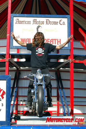 Wall of Death rider at California Bike Week. �Charlie, that you?�