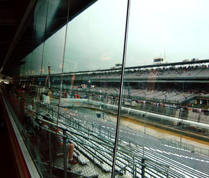 A few fans braved the rainy weather to watch the action on the track.