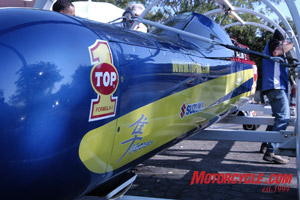 The Ack Attack streamliner is sponsored by TOP 1 Oils.