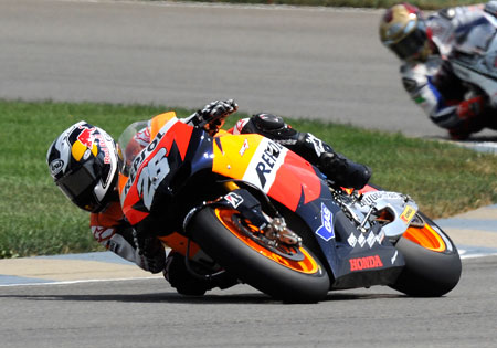 Dani Pedrosa set a personal high of three MotoGP wins in a single season after a victory at Indianapolis.