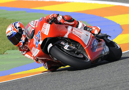 2008 Valencia winner Casey Stoner maintains his torrid pace, leading all riders in the free practice.