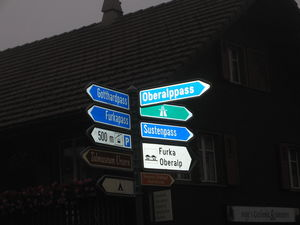 Motorcycle Nirvana - this road sign outside our hotel in Switzerland points to five different Alpine passes, all less than 10 minutes away from this intersection.
