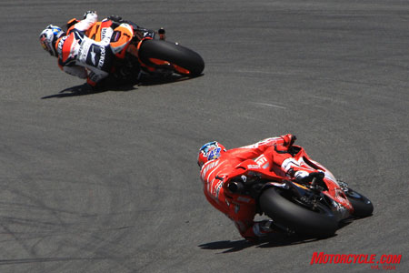 Stoner chased Pedrosa to no avail and ended up fourth.