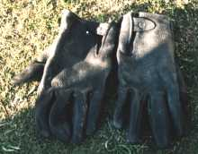 Nice elkskin gloves, dyed black, saved my hands from getting torn up as well as broken.