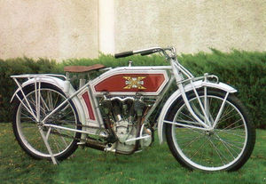 A fully-restored 1914 Excelsior Autocycle.
