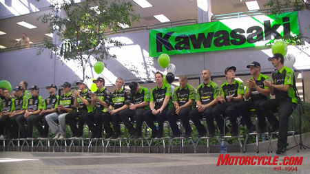 Most of the 2009 Kawasaki Off-road racing line-up.