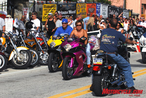 Main Street Daytona is a place where Harley Dynas can mix it up with fuchsia Gixxers.