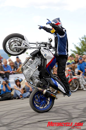 Chris Pfeiffer�s stunt show drew huge crowds throughout the weekend, as pulled tons of the kind of tricks that would later in the year earn him the title of European Stuntriding champion.