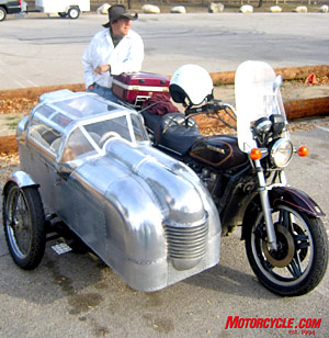 One of the more radical sidecars, an all-alloy hand-formed one-off that looked a bit like a coffin but was actually an �expandable� camper that you can sleep in.