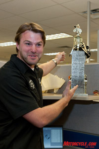 Many a Buell employee has had an entry on the company's crash trophy!