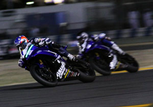 Daytona 200 racers competed under the lights for the first time.
