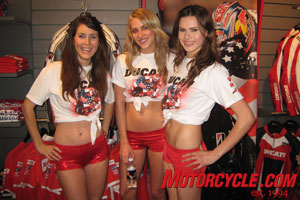 Eye candy in the form of Ducati hotties.