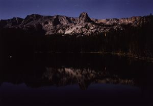 Lake Mamie, above Mammoth Lakes, CA. Exposure: 4 mins. Aperture: 22 Film: Kodak Gold 100 Hour: 12am