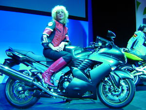 Big hair. Big boots. Big bike. The ZZR1400 from Kawasaki.