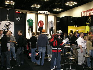 Some of the huge booths in this huge show were hugely packed with huge people. This is Fox Racing.