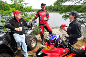 A quick break for a hot beverage at a scenic spot during our ATV ride with Bear Claw ATV Tours.